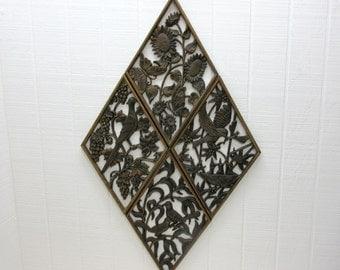 Vintage Burwood  Wall Plaques - Lot Of 4 Syroco Diamond Shape Bird Wall Plaques