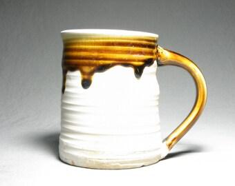Large soda fired mug. Rustic cup. Large handle mug. 20oz mug