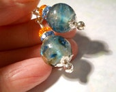 Lampwork Glass Earrings, Smoky Blue, Crystals, Orange, 2 Inches, Soft Blue, Silver Filled Earwires, Artisan Beads, Art Glass Earrings