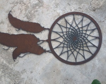 Dreamcatcher Custom Steel wall hanging Unique Boho Wall Art recycled steel