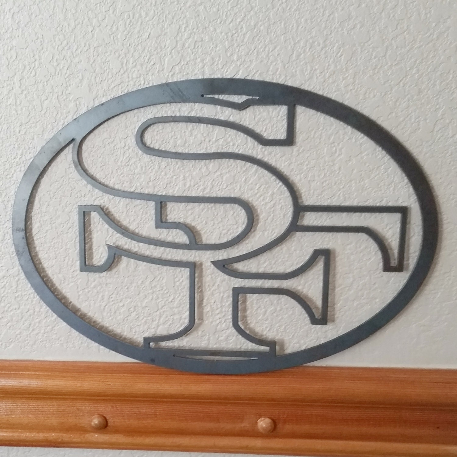 Recycled metal 49ers logo wall decor san francisco by for 49ers wall mural