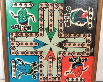 Vintage WAHOO Native American Indian Game Board, Mile High Game & Toy Co., Denver, CO, Marble Family Game