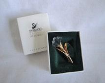 Vintage SWAROVSKI Lily Brooch Pin Swan Mark in Original Box