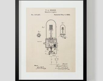 Thomas Edison Light Bulb Patent Art Print 2