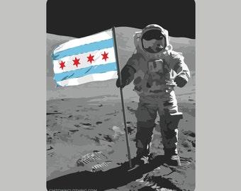 Chicago Moon Man Sticker
