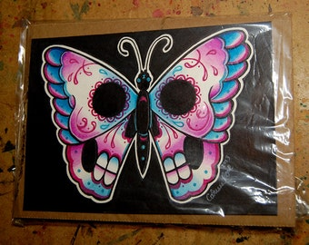ORIGINAL PAINTING - Day of the Dead Sugar Skull Butterfly - Tattoo Flash Watercolor Illustration by Carissa Rose - 5x7 inches
