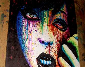 ORIGINAL 11x14 in Watercolor Painting - Torn Apart - Lowbrow Pop Art Horror Portrait - Alternative Art Rainbow Splatter Portrait