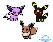EMBROIDERY FILES: Eeveelution Pokedoll Set 1 (Eevee, Espeon, Umbreon) Pokemon - Embroidery Machine Design