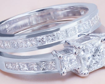 GIA I-VS2 14k white gold princess cut diamond engagement ring and band 2.00ctw