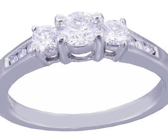 14k White Gold Round Cut Diamond Engagement Ring Prong Set 0.51ctw