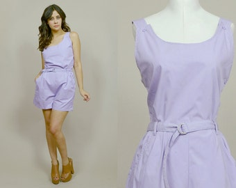 80s Romper Pastel Purple Overall Shorts Button Up High Waisted Lavender Onesie 1980s Hipster Playsuit Summer / Size M Medium