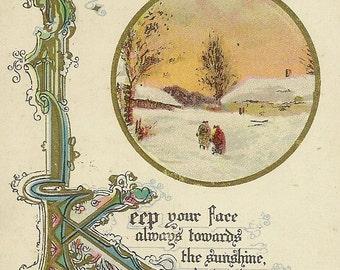 Vintage Christmas Postcard Winter Evening Scene – Keep Your Face Always Towards the Sunshine 1920