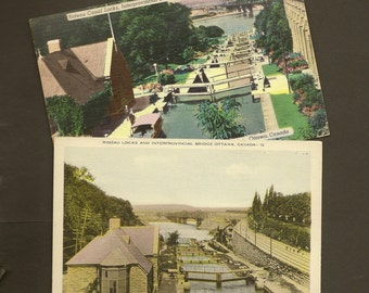 Rideau Canal Locks Ottawa Ontario Pair of Vintage Postcards (1 used 1 unused)