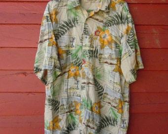 90s Orange Burst Rayon Hawaiian Button Up Floral Mens Shirt L