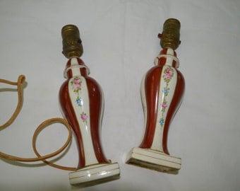 Vintage Moriyama Japan 1930-40's Pair of Dresser Lamps