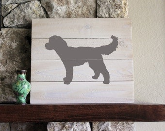 Goldendoodle (Gray),White-Washed Distressed Wood Sign, Goldendoodle Sign, Goldendoodle Art, Wooden Goldendoodle, Doodle Sign