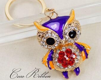 Alloy Enamel Purple Owl Bird Rhinestone Crystal Handbag Alloy KeyChain Ring B31