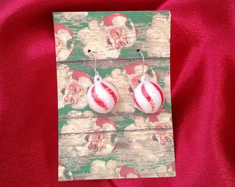 christmas earrings peppermint ball earrings holiday earrings brockus creations