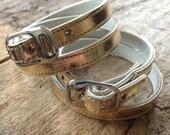 Gold Metallic Wrap Bracelet, Buckle Bracelet, Belt Bracelet, Vegan Friendly Faux Leather, Bohemian Bracelet, Bohemian Jewelry