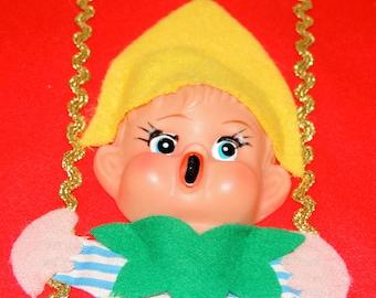 1950s Plastic Elf or Pixie  Felt Stocking, Made in Japan