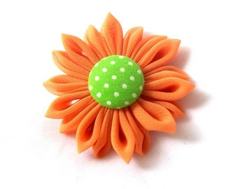 Bright Colors Orange and Lime Fabric Hair Flower Kanzashi Barrette