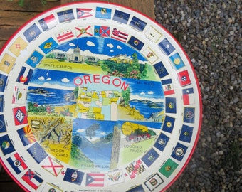Round Plastic Oregon Souvenir Tray From Japan with Flags from All the States Red