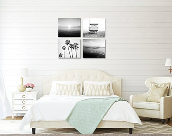 Black And White Print Set, Wall Art, Gallery Wall, Bedroom Decor, Beach House, Beach Art, Palm Trees, Nautical, Ocean, Small Space Decor