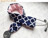 Padded Stethoscope Cover - Nurse, Doctor, Med Student, Medical Assistant - Gift for Nurse - Riley Blake Navy Quatrefoil with Baby Pink Minky