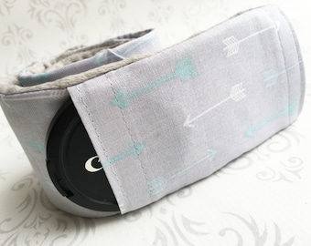 Camera Strap Cover with Lens Cap Pocket - Padded Minky - Photographer Gift, DSLR Camera Strap Cover - Aqua Arrows with Gray Minky