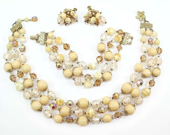 Signed Vendome Necklace, Bracelet and Earrings Demi