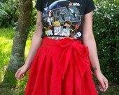 Red gathered waist full skirt size small