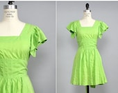 4 DAY SALE / Lime Green Dress S/M • 70s Mini Dress • Ruffle Sleeve Dress • Summer Cotton Dress • Neon Green Ruffle Dress • Cotton Sundress |