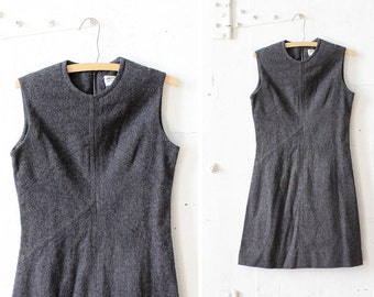 Gray Fit and Flare Dress S/M • Knee Length Dress • Jumper Wool Dress • Flared Winter Dress | D584