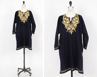 Boho Embroidered Dress • Wool Tunic Dress • Navy Blue and Gold Ethnic Dress with Pockets • Winter Dress | D594