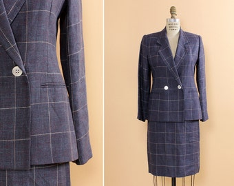 Burberry Suit Small/Medium • Navy Blue Skirt Suit • Burberry Jacket • Linen Suit • Linen Skirt • Plaid Skirt Suit • | D607