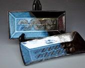 Sushi Trays Blue Black Ceramic Olive Plates  A