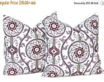 Sale Purple Pillow, Decorative Throw Pillow Cover, All Sizes, Plum and Burgundy,  Designer Suzani Fabric, Purple Cushion Covers