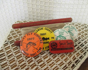 Vintage Fishing Pins - Wooden Hand Line - Split Shot Metal Tin - Country Cottage Rustic Decor - 6 in Lot