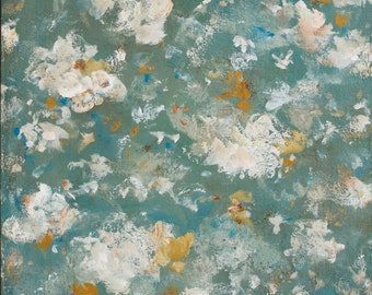Large Abstract Painting Flower Painting Large Art painting Teal dusty blue white gray 30 x 40 Go In Peace  Swalla Studio