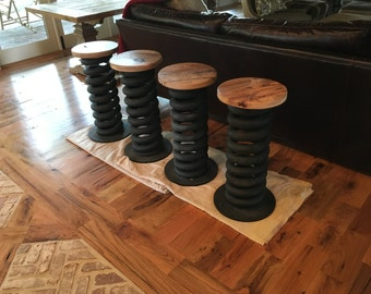 Counter stool / Bar stool from reused military truck spring with swivel hickory seat