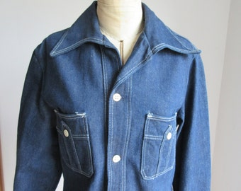 Vintage 1970s Ladies Wrangler Large Jean Jacket, Demin Shirt, Jean Shirt,  Large Collar, Butterfly Collar