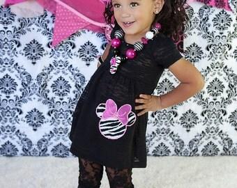 Miss Minnie Zebra Glam Burnout Dress...birthday, pageant