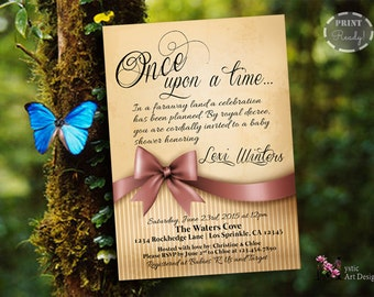 Once Upon A Time Baby Shower Invitation, Printable Baby Custom Invite,  Printable, Customized