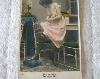 Beautiful French Topless Woman  Postcard  RPPC Circa 1900 Hand Colored Original Photo Paris