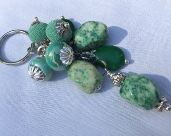 Jade Beaded Key Chain / Purse Charm / Key Fob / Bag Fob / Purse Swag / Handbag Charm / Purse Jewelry