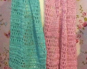 Crocheted summer scarf beach turquoise pink mint blue
