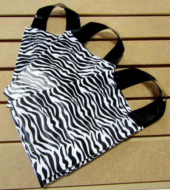 ZEBRA Print 20 Pack Frosted Soft Loop Handle Bags (5 x 6 in.) // BOUTIQUE CHIC //