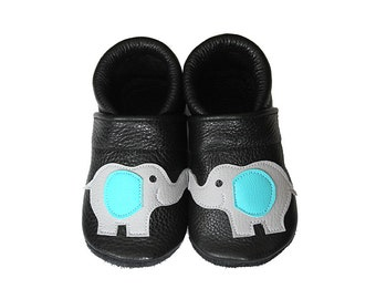Leather Baby Booties, Elephant, Baby Shoes, Infant Newborn Nursery Children