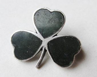Vintage Irish Sterling Silver Connemara Marble Lucky Shamrock Brooch Pin
