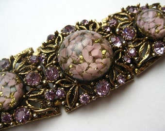 Vintage 60s BIG Pink Resin Purple Rhinestone Wide Panel Link Selro Selini Bracelet